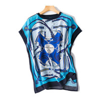 women fashion printed loose open hem silk t shirt short sleeve tees blue one&over size