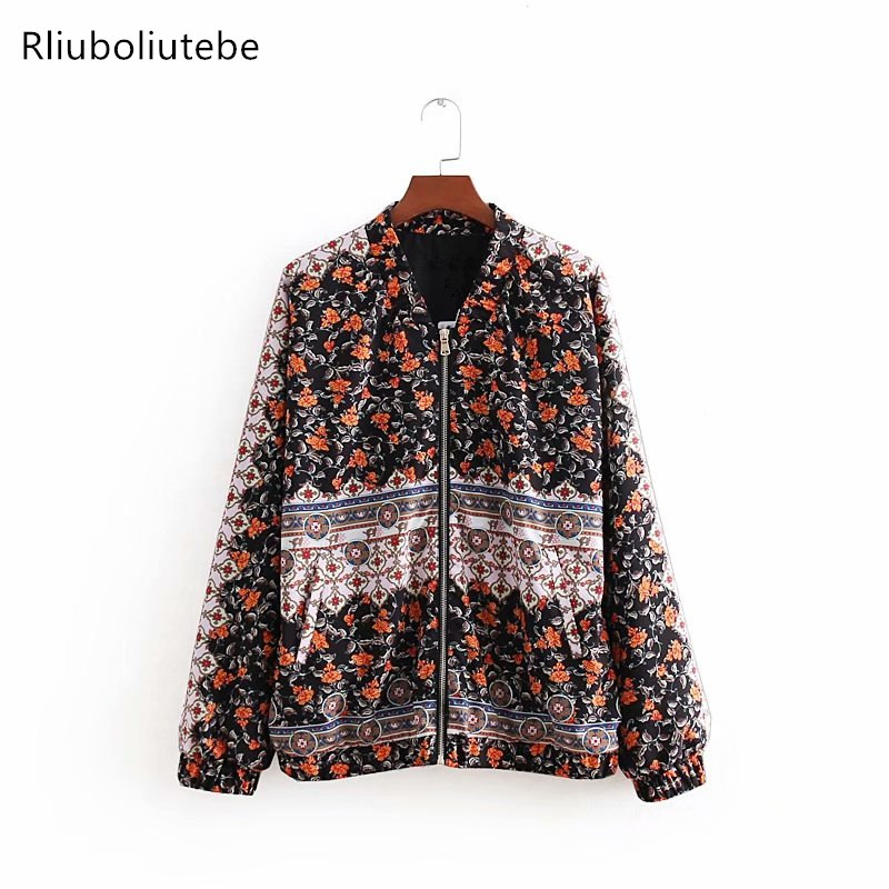 Floral Print Bomber   Jacket   Women Long Sleeves Pockets Autumn Coats Outerwear Fashion mujer   Basic     Jacket   Stand Collar Streetwear
