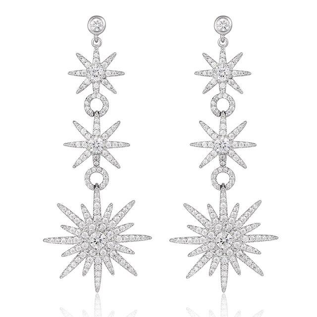 Gorgeous 3 Unidades Snowflake Nupcial Perforados Cuelgan El Pendiente Plateado Platino Cristalino Claro de Plata Aretes de Circonio