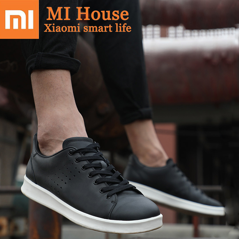 Original Xiaomi Mijia Genuine Leather PlateShoes Comfortable Fashion Leisure Men and Women Skateboard Shoes Support Smart