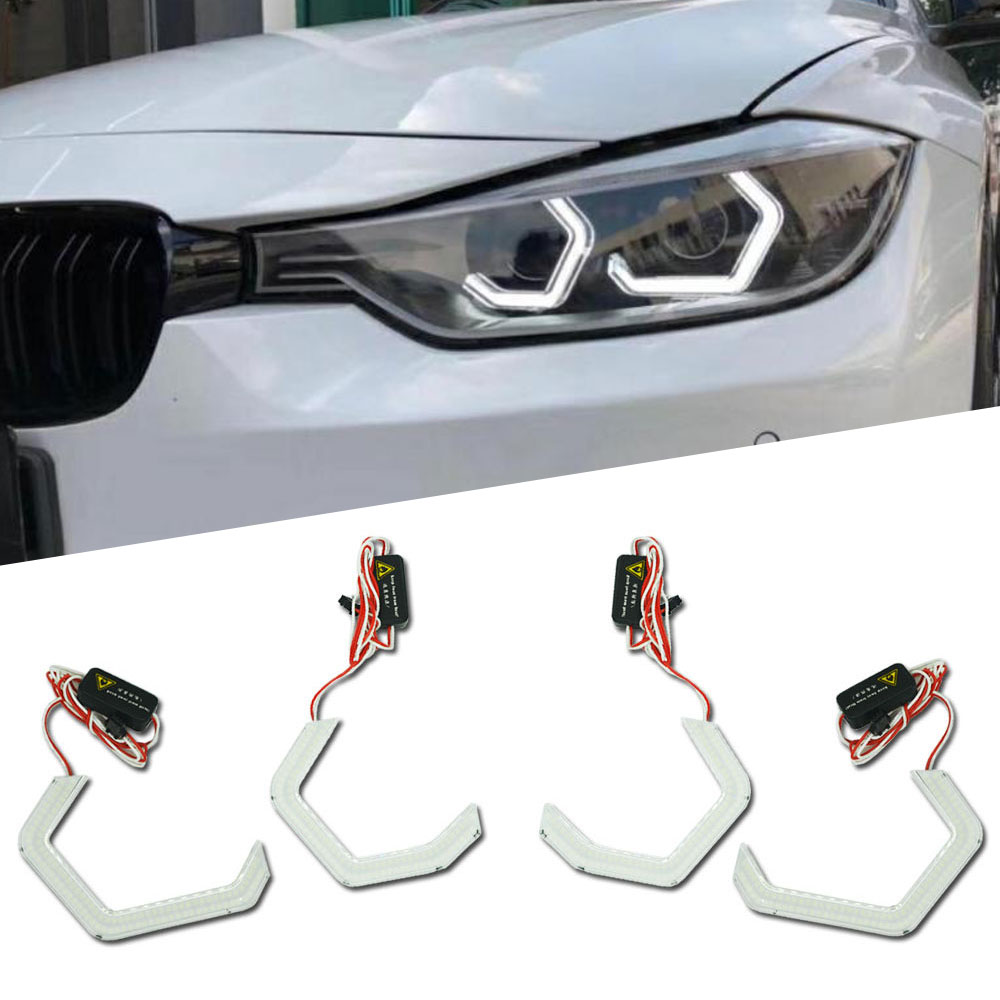 7000K White Square Bottom LED Angel Eyes Halo Rings W/ Crystal Covers For BMW E90 E93 F30 F35 F10 F18 Headlight Retrofit