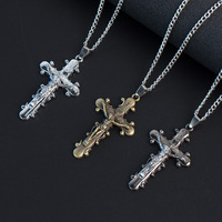 MIC 12pcs Christian Jewelry Gifts Vintage Cross INRI Crucifix cross Jesus charm Pendant Men Necklace 3color