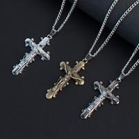 MIC 12pcs Christian Jewelry Gifts Vintage Cross INRI Crucifix cross Jesus charm Pendant Men Necklace 3color