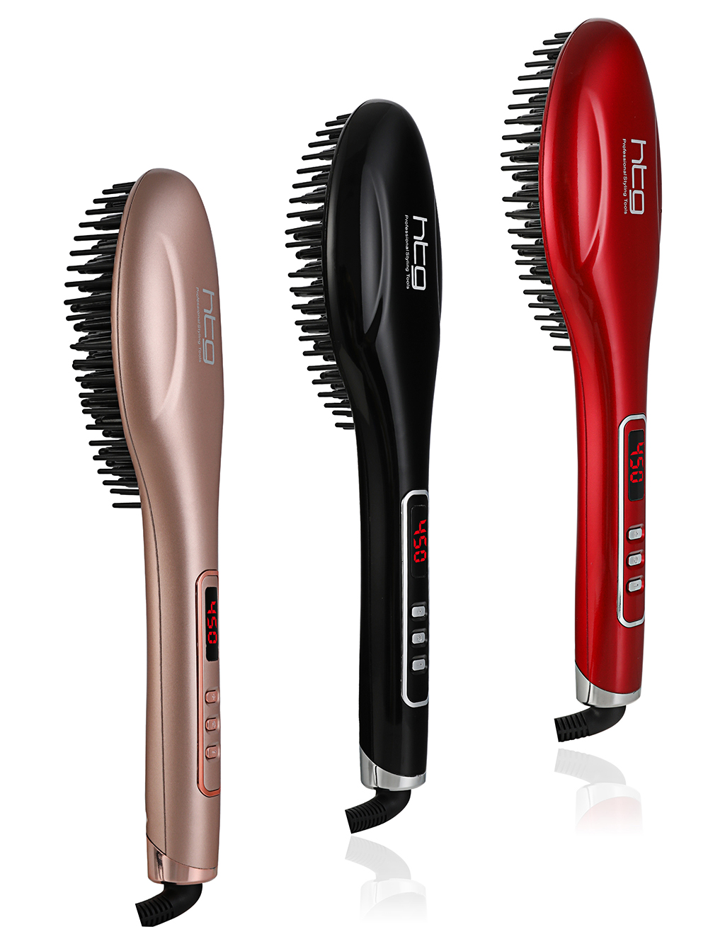 Htg Hot Brush Iron Hair Straightener Iron With Ionic Less