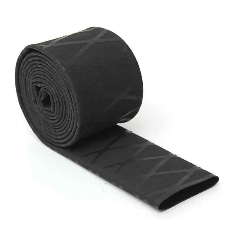 100 * 2cm Non-slip Heat Shrink Wrap Tubing Fishing Rod Handle Insulation Waterproof Racket Handle Grip (Black)