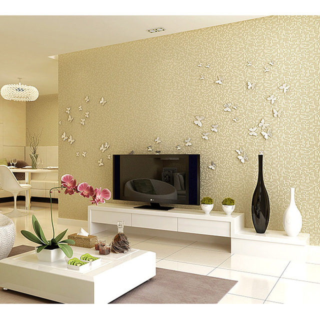 Modern minimalist living room wallpaper plain solid color linen den ...