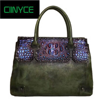 New women bag genuine leather brands quality cowhide alligator grain embossing fashion women handbags shoulder big totes bag