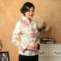 Hot Sale Multicolor Chinese Women's Satin Jacket Classic Style Print Tang Suit Appliques Button Floral Jacket Coat MNY022105