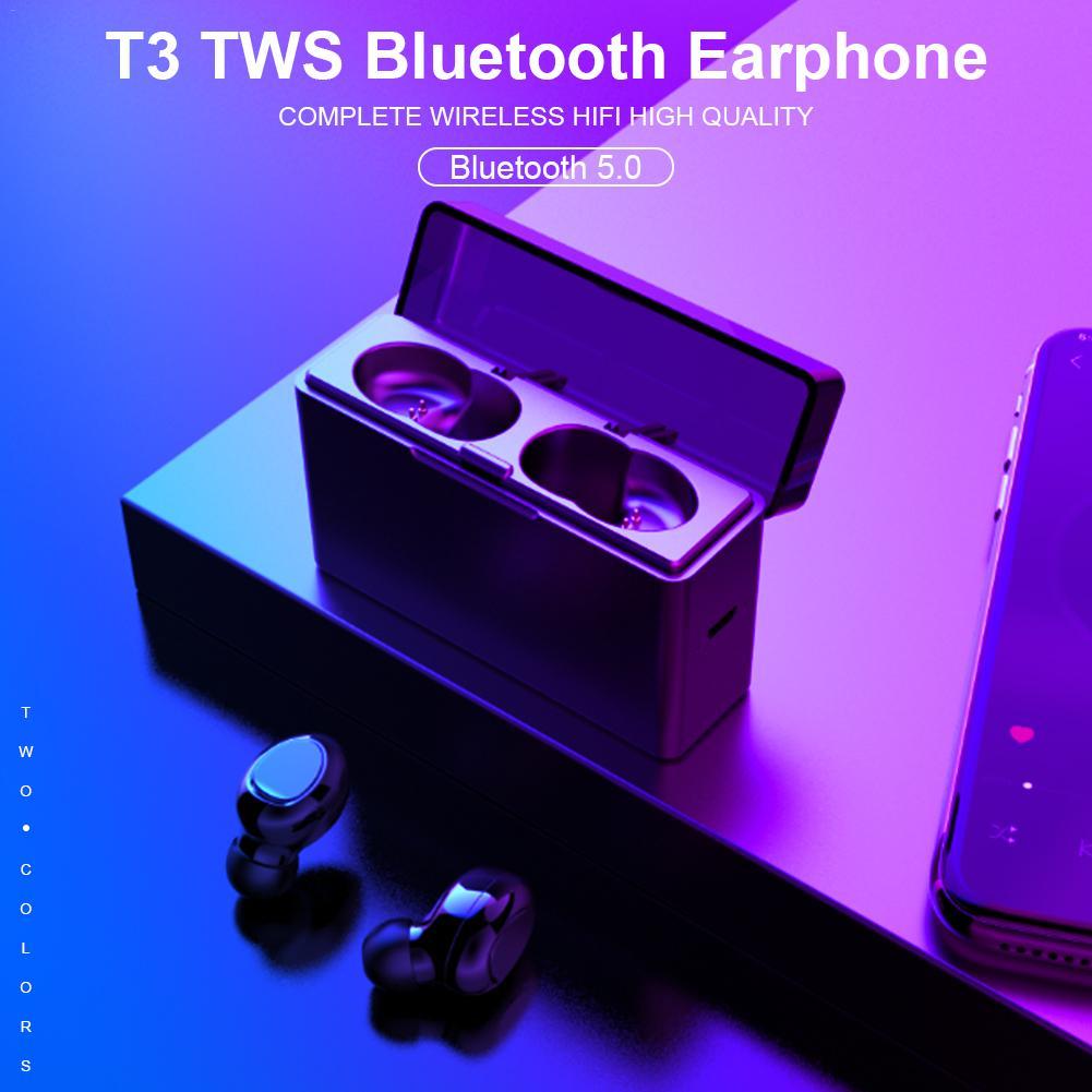 T3 TWS Bluetooth 5 0 Wireless Earbuds Binaural Call Earphone Emergency Charging Mini Waterproof Sports Headset With Charging Box in Bluetooth Earphones Headphones from Consumer Electronics