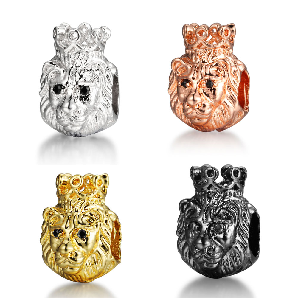 Lovely Cz King Crown Lion Head Spacer Beads Micro Pave Cubic Zirconia Charm Beads Large Hole Beads Mens Jewelry Making Findings Beads & Jewelry Making Beads