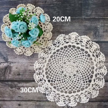Round Tablecloth Placemat Glass Coffee-Cup Crochet Dining-Mat Kitchen Vintage Cotton
