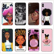 Melanin Poppin Afro Queen phone coque for iphone 7 XR black girls soft TPU Phone cover Case For iPhone X XS MAX XR 6 6S 7 8 PLUS(China)