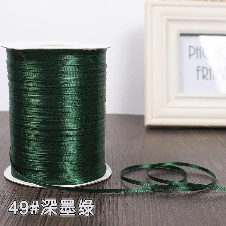 3 мм атласная лента 22 м/лот DIY ручной работы, товары для рукоделия, свадебные, для дня рождения, подарочная упаковка, белые, розовые, бежевые, кремовые ленты - Цвет: Dark Green