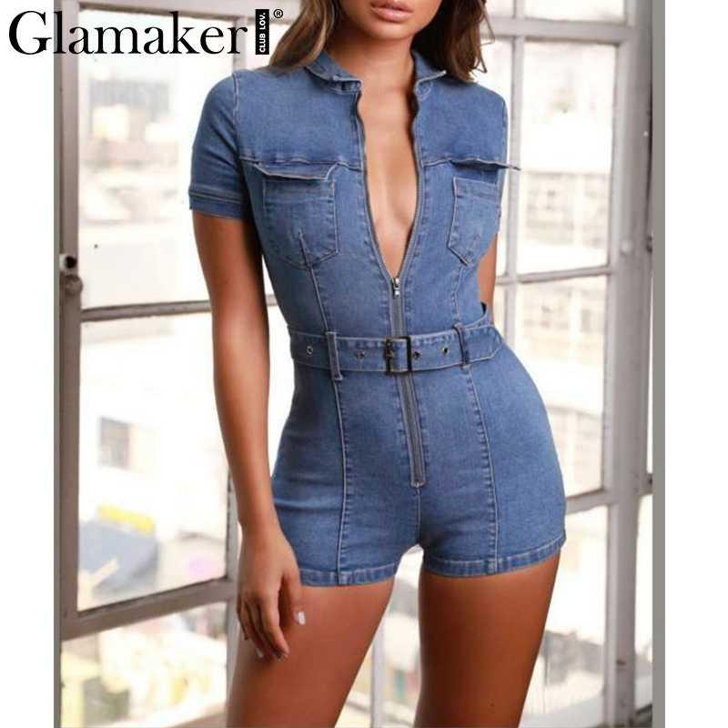 Glamaker синий джинсовый женский комбинезон короткий сексуальный облегающий осенний уличные джинсы комбинезон женский модный вечерние клубный комбинезон
