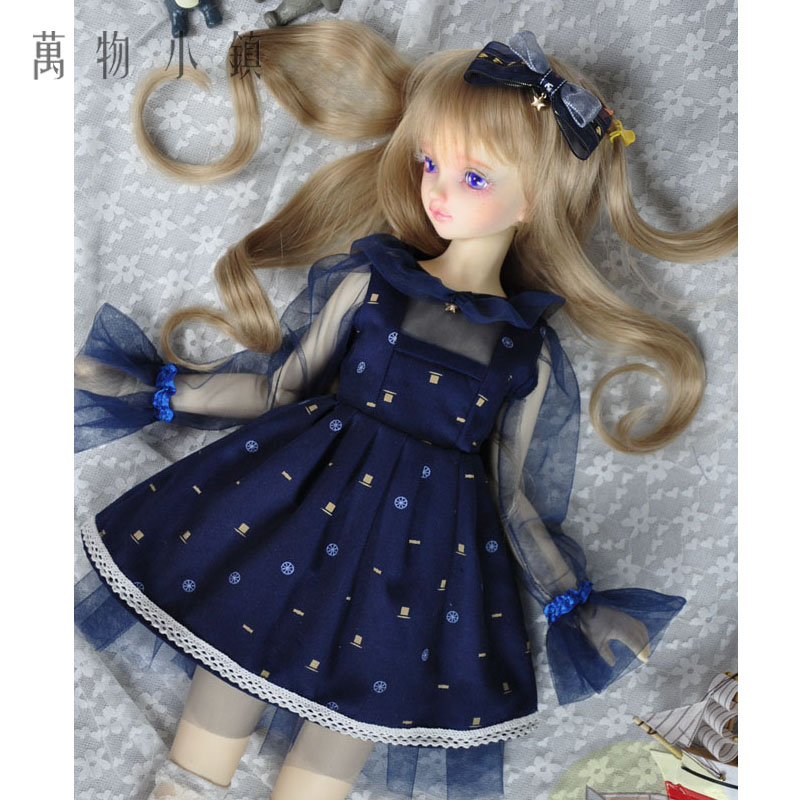 New With Blue print Lace Dress Doll Skirts For1/3 1/4 BJD SD MSD Doll Clothes new 1 3 bjd wig short hair doll diy high temperature wire for 1 4 msd bjd sd dollfie