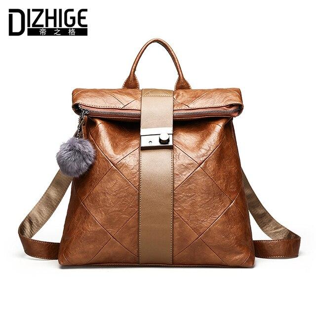 DIZHIGE Brand Luxury Fur Ball Women Backpack Vintage Designer School Bags  For Teenagers Girls PU Leather Backpack Women 2018 New 425cf3b199e30