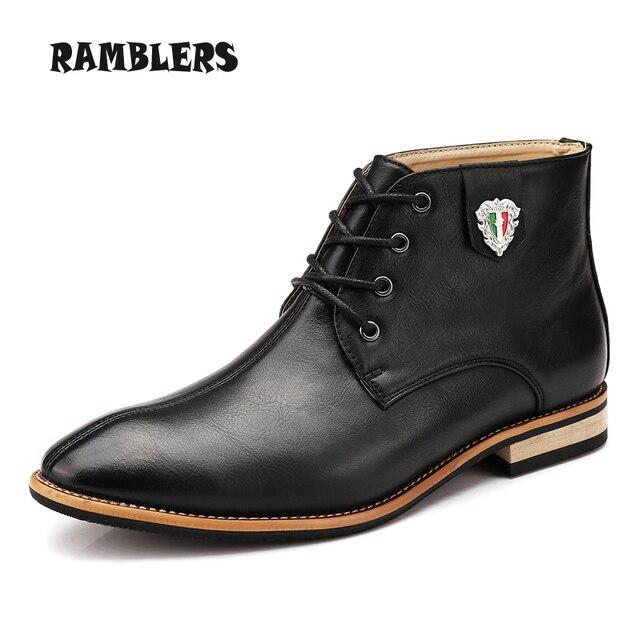 Черные кожаные сапоги для мужчин туфли браун свободного покроя ботильоны новых осенью модный дизайн острым носом обувь туфли-botas хомбре