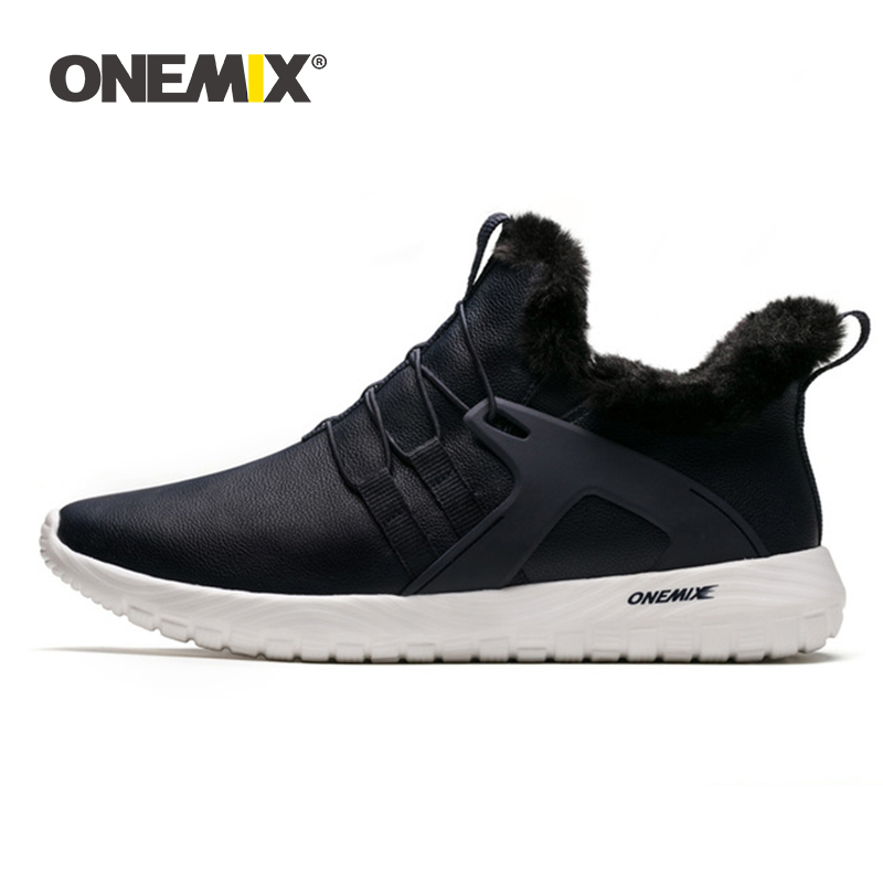 ONEMIX Winter Men Boots Warm Comfortable Waterproof Leather Running Sneakers Adult Ankle Snow Boots Outdoor Slip On Walking Shoe