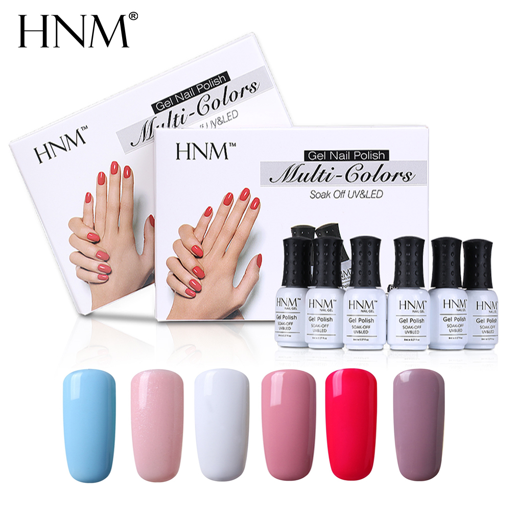 HNM LED Lamp UV Gel Nail Polish 6 Classic Solid Color for Choosing Soak Off Lucky Lacquer Nail Art DIY Gift Box Painting Gellak lucky bag gift box for blackview ultra