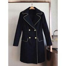 Arlene sain custom black gold wind series of England Dark grain texture jacquard fabrics Pure copper gold buckle trench coat