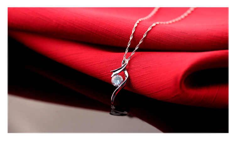 Charming Luxury 925 เงินสเตอร์ลิงจี้สร้อยคอ Cubic Zirconia ของขวัญหวานสำหรับแฟน/คนรัก/น้องสาวขายร้อน