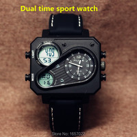 High Quality Men S Silicone Dual Time Green Led Display Sports Wristwatches Waterproof Fashion Square Hiking