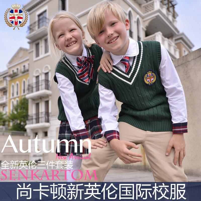 school yard style 100% cotton cardigan waistcoat uniform set 4 Pcs,size 3T-20t, fall children vest - SENKARTOM Official Store store