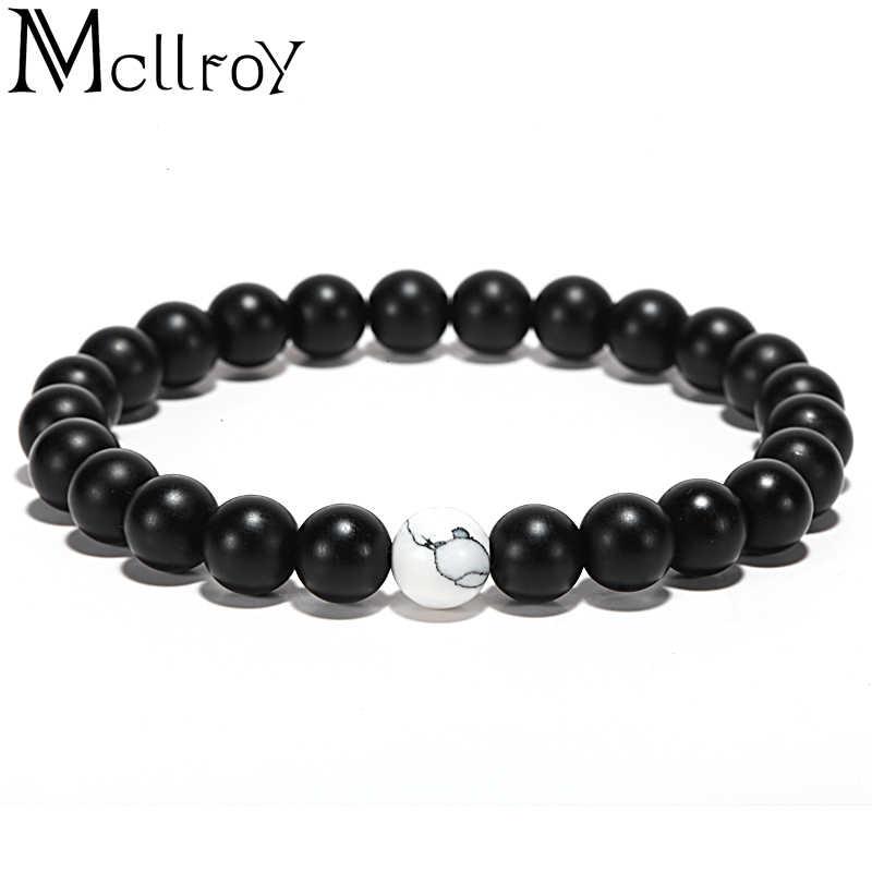 Mcllroy пара браслет из натурального камня браслеты Инь Ян черный белый браслет из бисера для женщин мужчин модные ювелирные изделия День святого Валентина