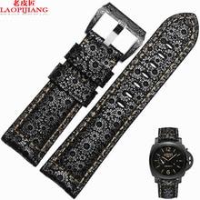 Laopijiang Анти пота кожаные ремешки мужской адаптер PAM111 24 мм кожаный браслет.
