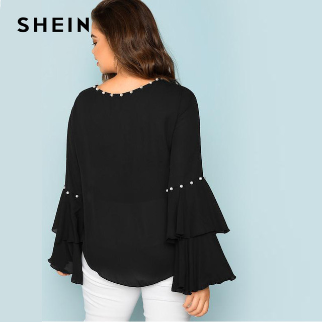 SHEIN Pearls Embellished Layered Ruffle Sleeve Plus Size Women Black Blouse 2018 Fashion Beaded Detail O-Neck Top Blouse 1