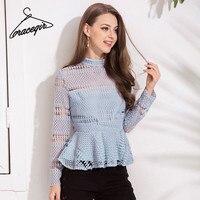 Gracegirl 2018 Spring Women Blouse Shirt Series High Collar Lace Hollow Out Sexy Blusas Peplum Back