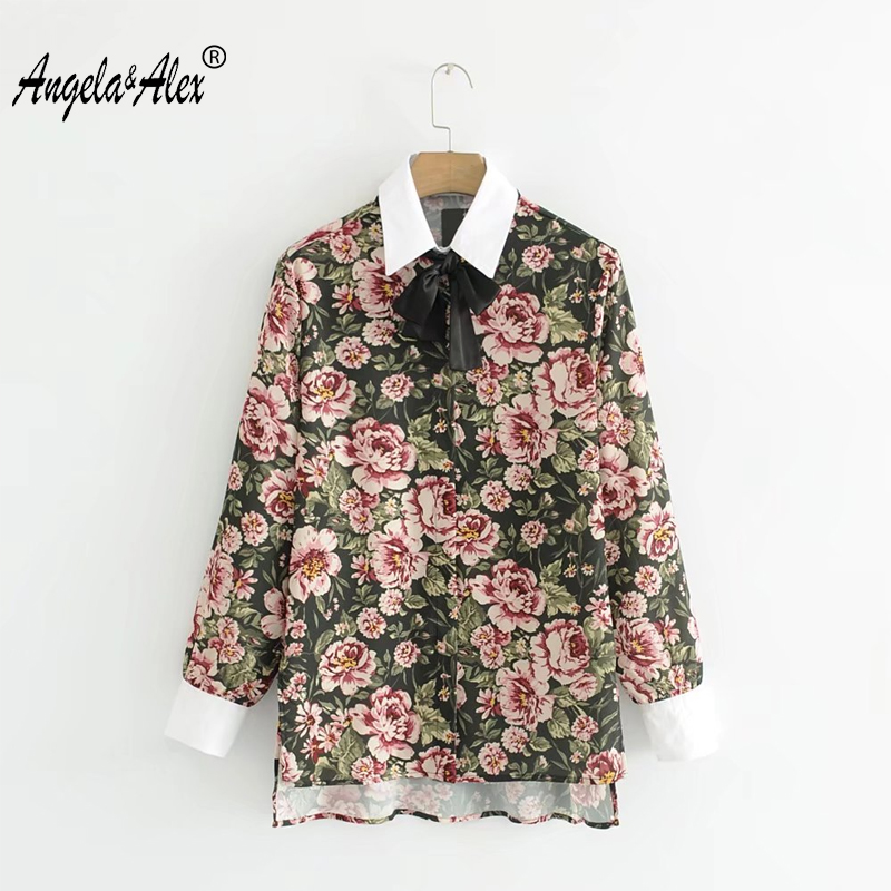 Angela&Alex Women Floral Printing Shirt 2018 New Spring Female Long Sleeve Elegant Bowknot Office Lady Blouses Valentine Present