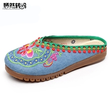 Women Slippers Summer Vintage Nepal Islamic Travel National Embroidered Boho Chinese Flower Sandals Shoes For Woman Plus size 43
