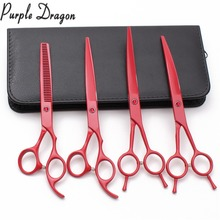 Z3102 4Pcs 7 19.6cm Suit JP Purple Dragon Clippers For Dog Grooming Shears Cutting+Thinning+Up&Down Curved Shears Pets Scissors 6 5 inch purple dragon dog grooming cutting curved thinning scissors case safety rounded serrated tip pets shears set
