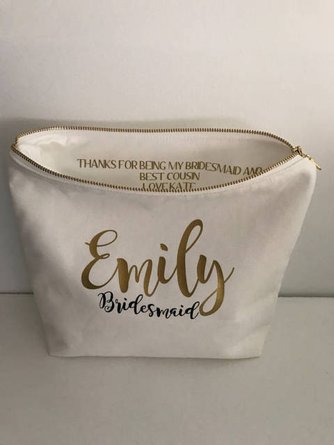 Personalised Name Pouch Bridesmaid Wedding Gift Make Up Cosmetic