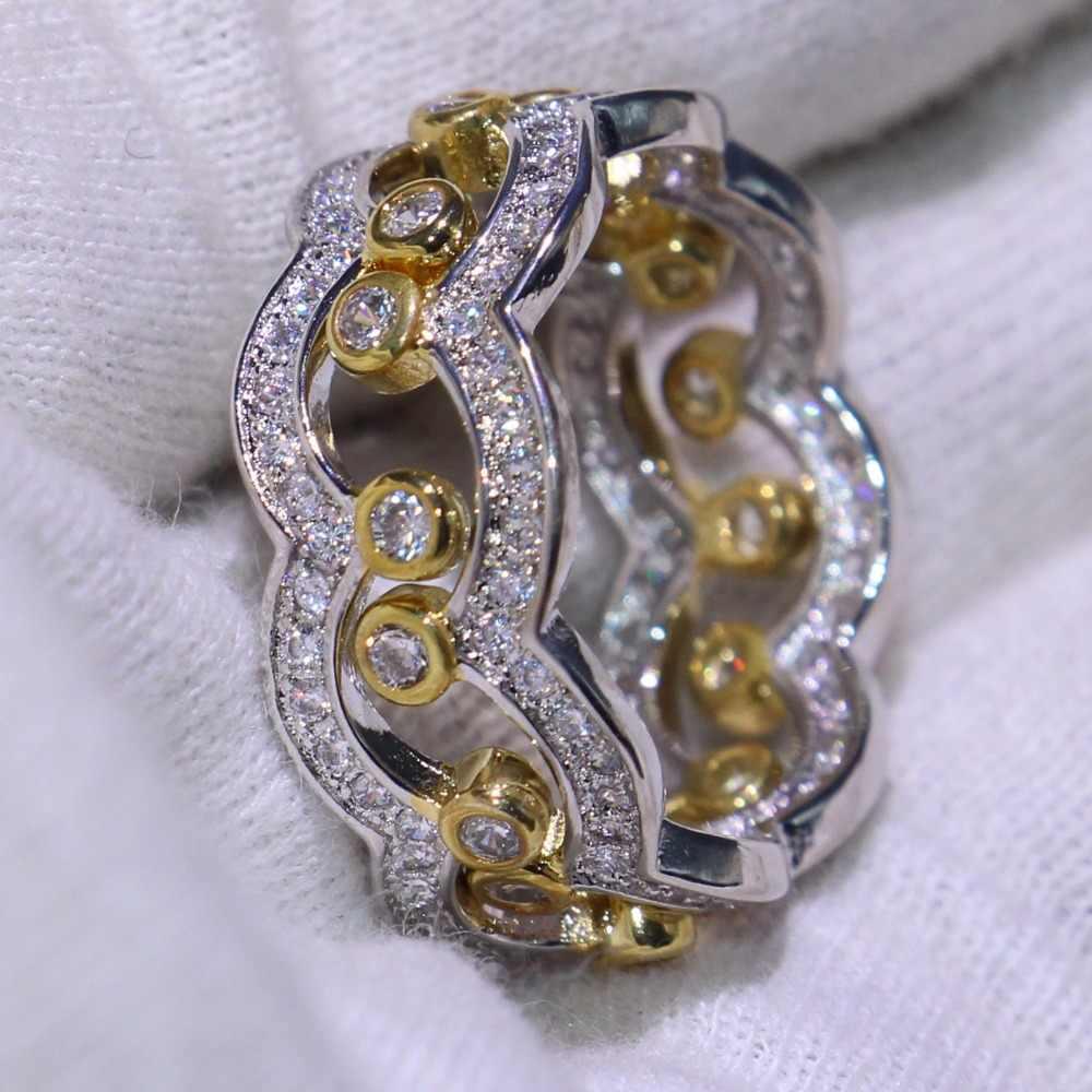 Новый Для женщин Мода 2 шт. Корона кольцо комплект роскошные ювелирные изделия стерлингового серебра 925 AAA кубический цирконий CZ Для женщин свадебные кольцо подарок