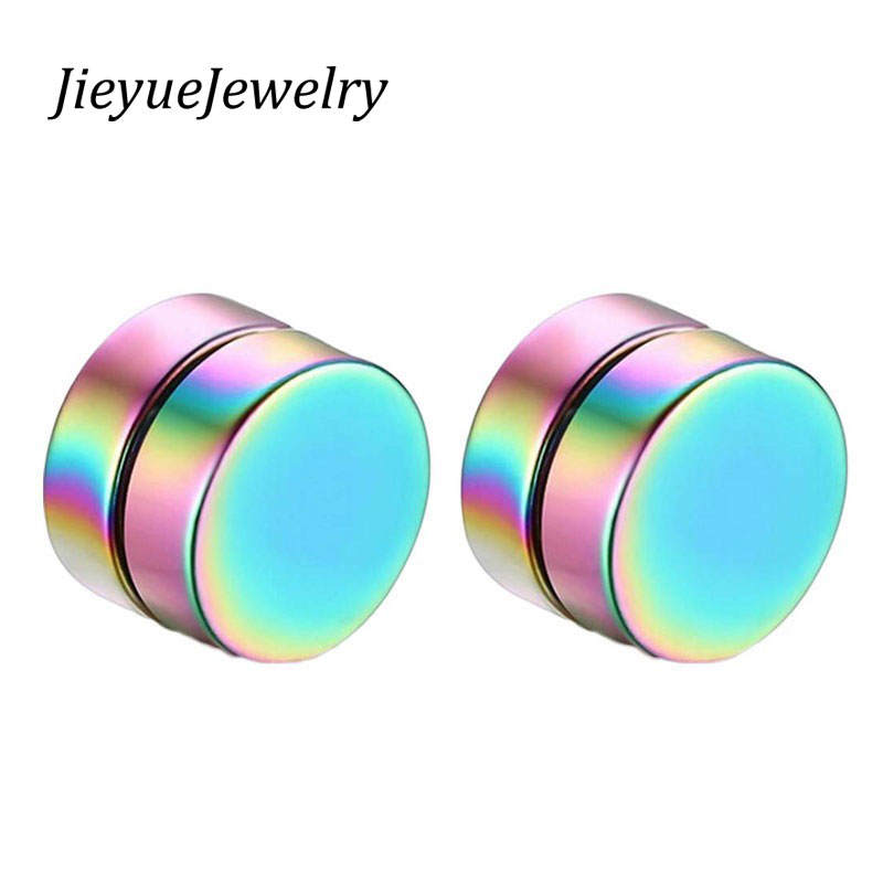 1 PIECE Mens Earring Set Stainless Steel Circle Magnetic Clip Stud Earrings Magnet Fake Plugs No Piercing Clip On Unisex Jewelry