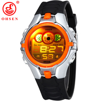 High Quality 2014 OHSEN Brand New Fashion Generous Digital Sport Diving Waterproof Children Watches Orange Free