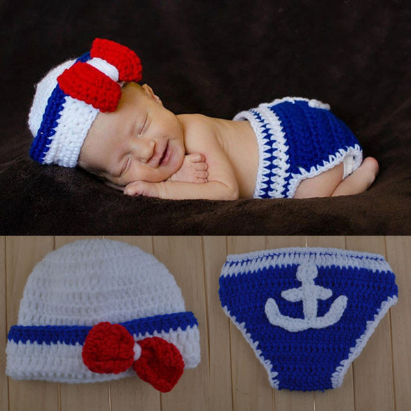 4pcsset Neugeborenen Marine Seemann Foto Requisiten Kostüm Häkeln