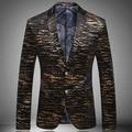 Formal Business Fall Spring Mens Plus Size XXXL Gold Printed Velvet Designer Zebra Suit Blazer , Stylish Man Cool  Black Blazers