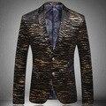 Negocios formales primavera otoño Mens más el tamaño XXXL oro impreso diseñador Velvet cebra traje de chaqueta, hombre con estilo Cool Blazers negro