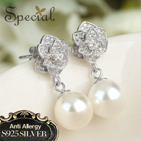 Special Brand Fashion 925 Sterling Silver Stud Earrings Ear Pins Cubic Zirconia Pearl Jewelry New Gifts