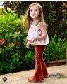 Ins * novos 2017 meninas do bebê de Veludo calças bell-fundo queimado calças calças crianças primavera verão crianças moda tops ballons padrão