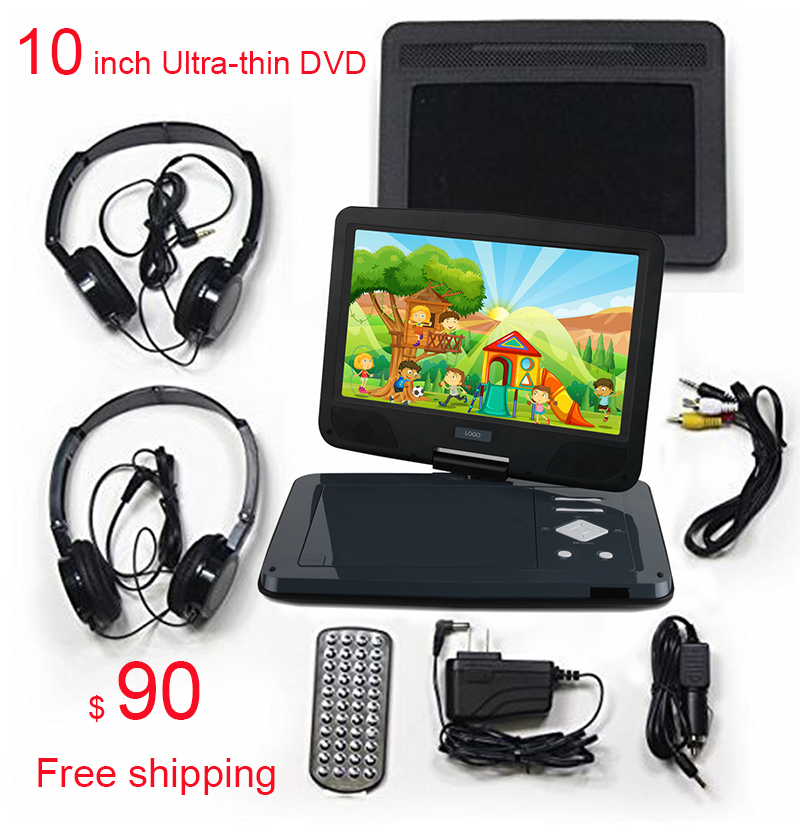 Free shipping 10 Inch ultrathin Car Portable Dvd Player VCD Support SD MMC Card Large batteries can work for four hours in a row
