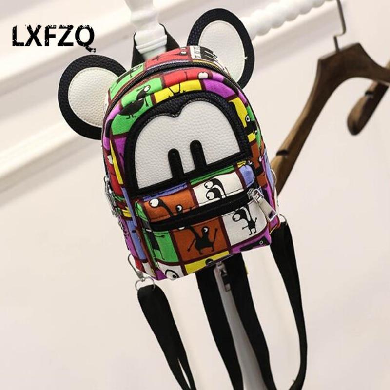 Women s Mini Canvas Backpack Mickey Ear Cute Teenage Girls Casual Cartoon Backpack Bags Mochila Rucksack