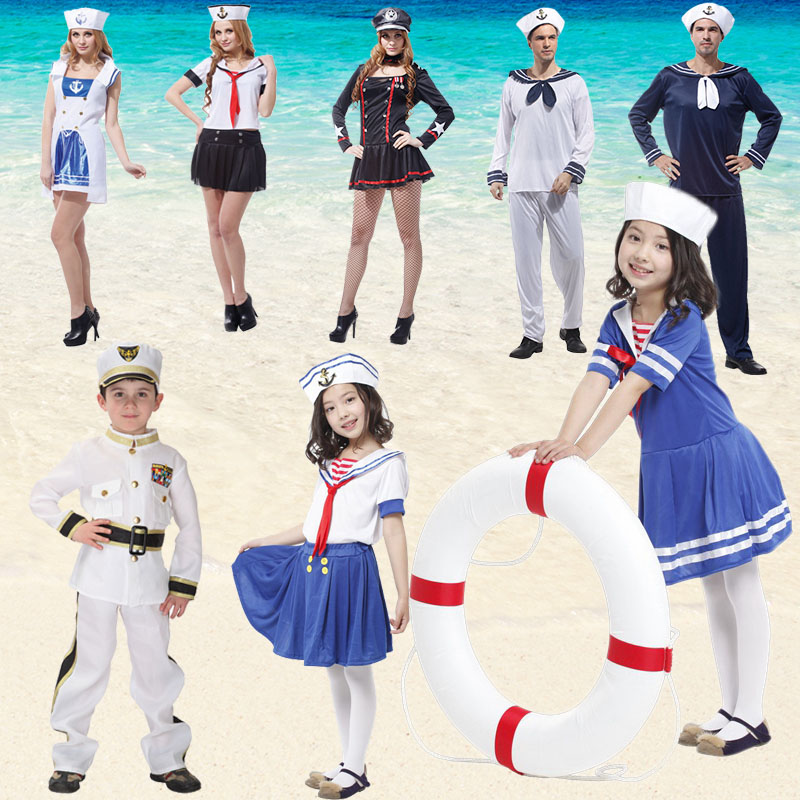 Free shipping ,children adult girl boy men halloween party cosplay cute seaman navy blue sailor dress white policeman costume