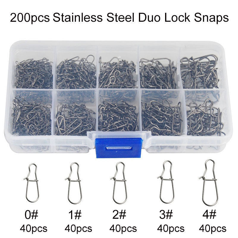Hyaena 200Pcs/Box Size 0#-4# Stainless Steel Duo Lock Snaps Swivel Solid Rings Safety Snaps Fishing Connector Set
