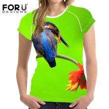 FORUDESIGNS 3D Alcedo Printing t shirt Women Summer Clothing Short Sleeve Bright T Shirt Womens Girls tops & tees Humor Feminino