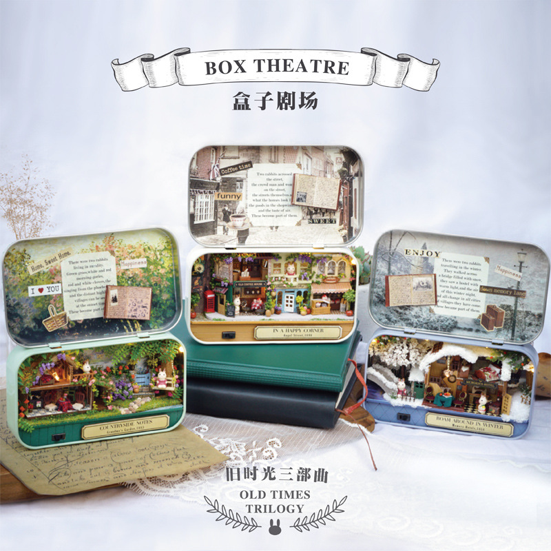 Happy Corner 3D Wooden DIY Handmade Box Theatre Dollhouse Miniature Box Cute Mini Doll House Assemble Kits Gift Toys