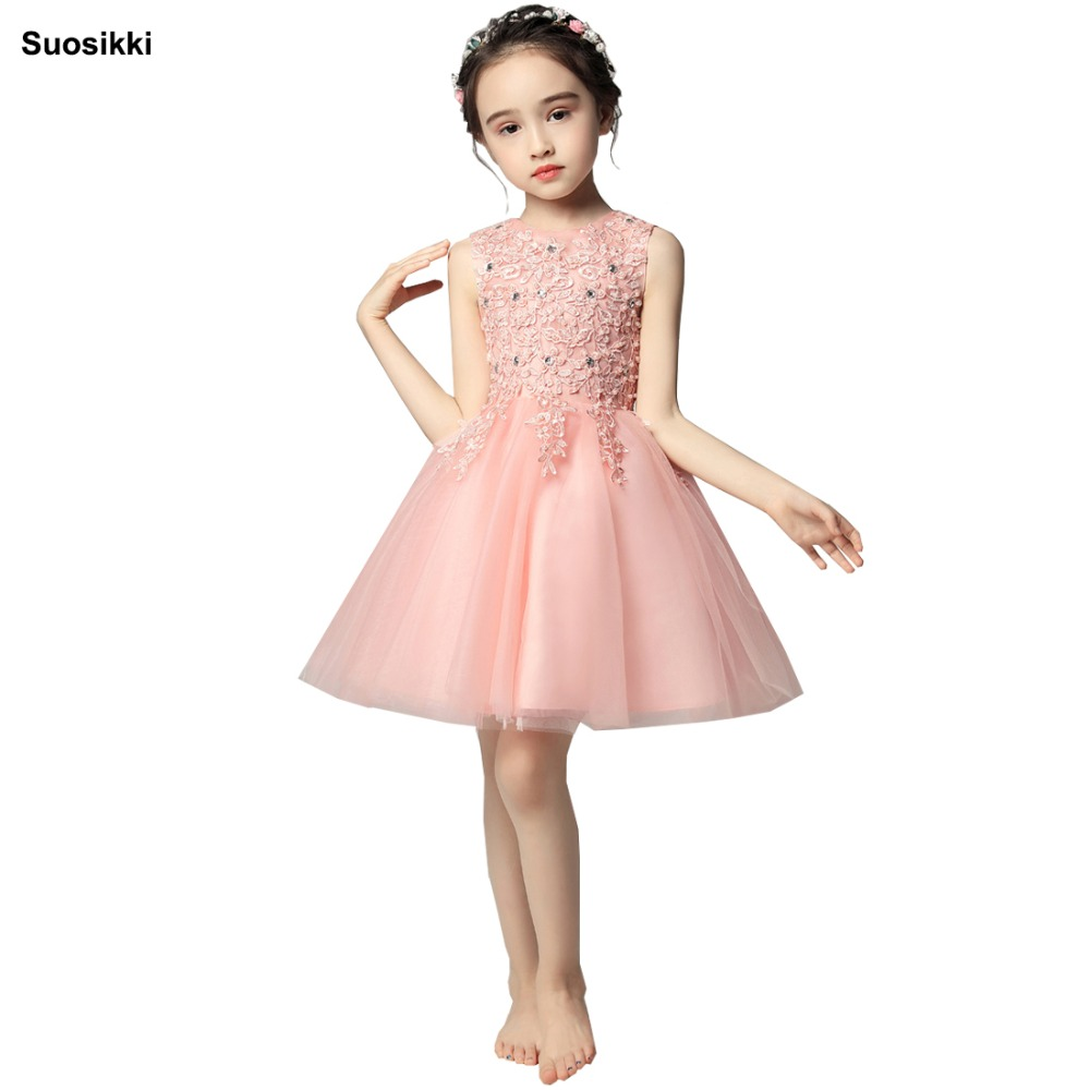 Suosikki   Flower     Girl     Dresses   With Beaded Crystal Applique Ball Gown First Communion   Dress   for   Girls   Customized